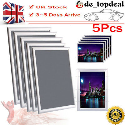 5Pcs A4 Colour Snap Frame Poster Clip Holders Displays Retail Wall Notice Board