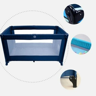 New Infant Baby Soft Breathable Mesh Nursery Portable Foldable Cradle Bed Blue