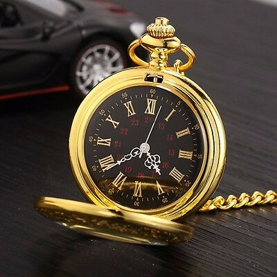 Watch - Pocket Watch Beautifully Engraved Gold Plated with Gold Chain 6024