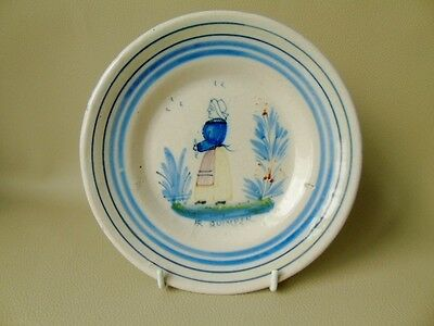 Antique Rare Pattern French Faience, HR Quimper Plate