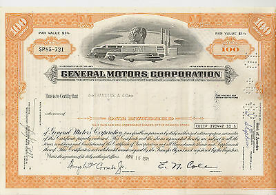 General Motors Corp. Delaware histor. Auto Aktie 1973 USA Cadillac Buick Opel GM