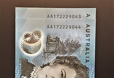 Consecutive Pair of ** AA17 ** FIRST PREFIX ** NEW 2017 $10 notes ** UNC!!