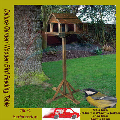 Premium Wooden Bird Table Portable Feeding Station Deluxe Feeder Free Standing**