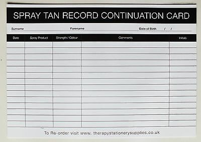 SALON-THERAPIST Spray Tan Treatment Client Continuation Record Card (50 pack) A5
