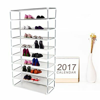 50 Pair 10 Tier Shoe Rack Storage Tower Organizer Free Standing Space Saving #A