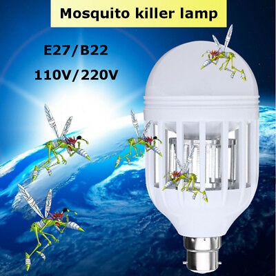 E27 B22 15W Anti-Mosquito Electronic LED Insect Fly Zapper Killer Light Bulb