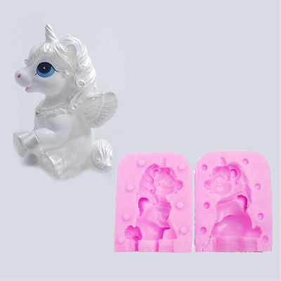Cute Unicorn Horse Molds Candle Sugarcraft Soap Silicone Mould 3D DIY Tool New