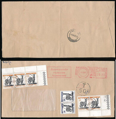 BOTSWANA POSTAGE DUE 1993 on METER FRANKING from SOUTH AFRICA...ZEBRA