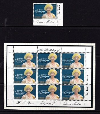Pitcairn Islands 1980 Queen Mother's 80th Birthday Single and Sheet MNH