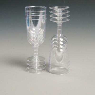 Silver Glitter Clear Plastic Disposable Party Wine Glasses - XMAS - (2P)