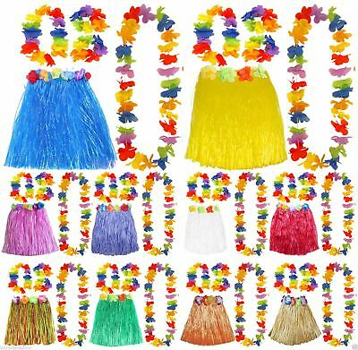 Ladies Girls Hawaiian 40 Cm Hula Skirt Lei Hula Set Fancy Dress Costume