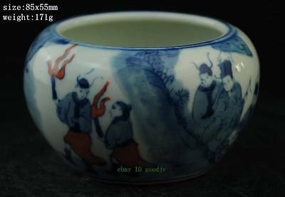 Chinese blue and white porcelain jar of hand-drawing character figure NR
