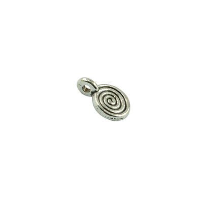 100Pcs Silver Round Tone Swirl Beads DIY Trendy Pendant for Necklace Earring