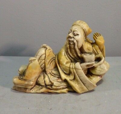Chinese Antique Carved Soapstone Reclining Figure QING Scholars Brush Rest Rare