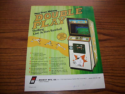 1977 Midway Double Play Video Game Flyer Brochure