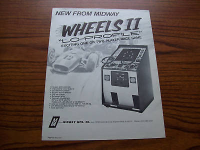 1975 Midway Wheels 2 Lo-Pro Video Game Flyer Brochure