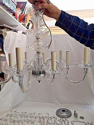 Vintage Crystal Chandelier Ceiling Hanging Fixture 10 Crystal Glass Arms Lights