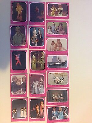 "1976 ""ABBA - Series A Pink Set. 17  Cards In Total. (Numbers are in description)"