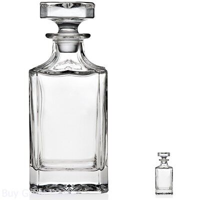 Crystal Whiskey Decanter Silver Art Clarion Square Non-leaded With Glass Stopper