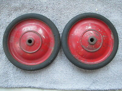 Pair Vintage Wheels wagon, tricycle or pedal car vehicle wires and wheels