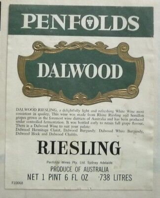 1960s AUSTRALIAN WINE & SPIRIT LABEL, PENFOLDS DALWOOD RIESLING