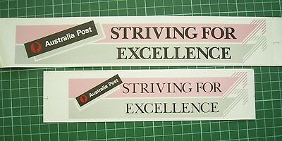 VRare 1986 Australia Post STRIVING FOR EXCELLENCE 2 x promotional stickers