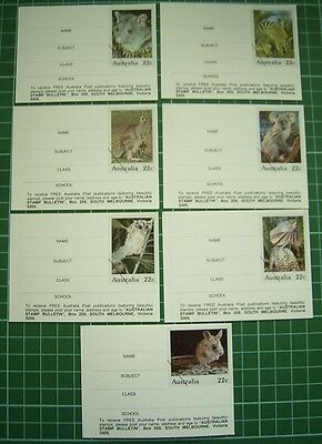 VRare 1980 Australia Post Set 7 BOOK LABELS with REPLICA STAMPS Aust Animals PSE