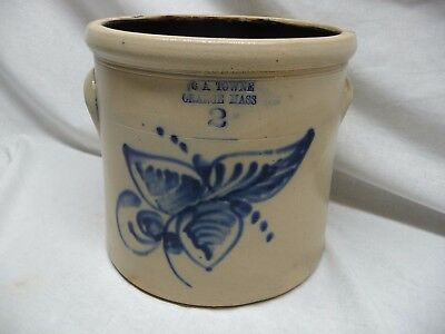 Antique C A Towne Orange Mass 2 Gallon Crock With Blue Design