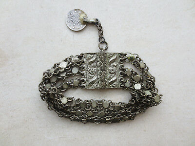 ANTIQUE Late 19th Century Silver alloy OTTOMAN WOMEN'S FOLK BRACELET WITH COIN