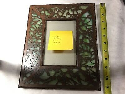Vintage Tiffany Style Bronze or copper & Green Slag Glass Picture Frame