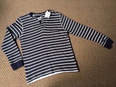 Boys long sleeved blue striped top from next age 9 years new with tags