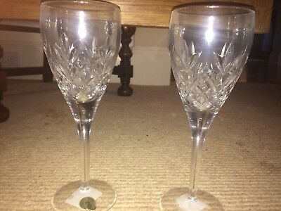 LOOK 12 waterford cardiffe wine lead crystal glasses...never used!