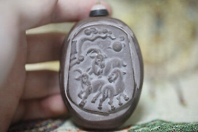 "Chinese Jade Stone Carved ""三羊开泰"" Pattern Snuff Bottle N186"