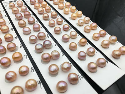 AA+ 10.5-11mm pink button round edison freshwater pearl,Pearl stud Earrings