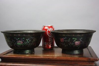 18th/19th C. Chinese Pair Mother-Of-Pearl Inlaid Black Lacquer Bowls