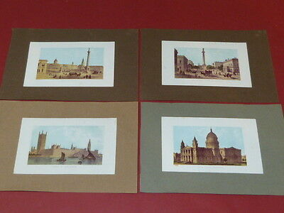 4x Grafik England London Stahlstich Parlament Cathedrale Stammbuch ~1850