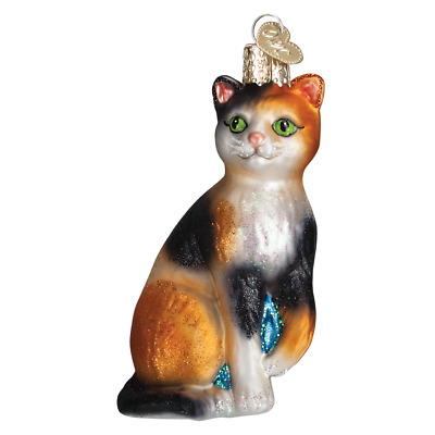 """""""Calico Cat"""" (12399) Old World Christmas Glass Ornament w/ OWC Box"""