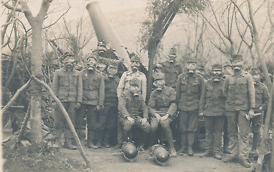 WWI K.u.K. Austro-Hungarian Army, Soldiers Front line Gas masks, Cannon photo