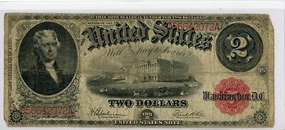 1917 $2 Two Dollar Bill Red Seal United States Legal Tender Large Note # 072A