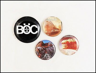 Blue OysterCult Lot Of 4 80's Buttons Pins BOC Some Unchanted Evening