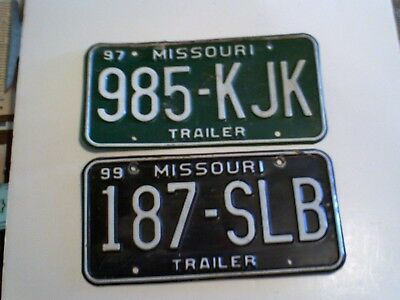 Lot of 2 Missouri License Plates Trailer Plates 1997 and 1999 Vintage ?  Heavy