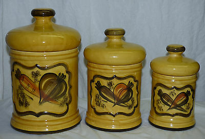 Retro Los Angeles California Pottery 3Pc Canister Set Carrot Vegetables Yellow