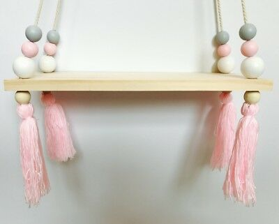 Wooden Wood Wall Hanging Shelf Kids Baby Bedroom Nursery Tassel- Pink/Grey/White