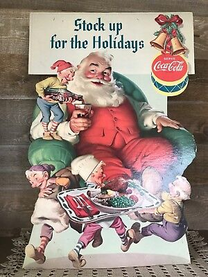 Vintage Coca Cola Advertising Stock Up for Holidays Christmas Coke Santa Claus