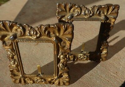 """Antique 1900 Pair Of 2 Miniature Metal 2"""" Matching Picture Frames Easel Backs"""