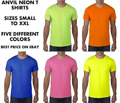 Anvil Mens Neon Hi Vis Tee T Shirt Fluorescent Bright Party Fancy Dress 80s 80's