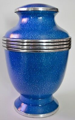 Solid Brass - Adult Cremation Urn for Ashes - Elegant Blue with Silver Banding.