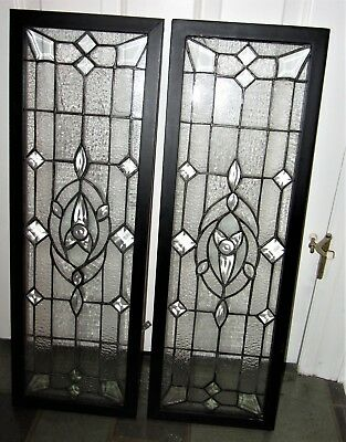 Pair Of Leaded Or Simulated Glass Windowns