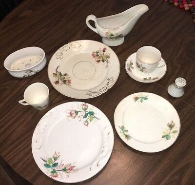 Striking 9 Piece Antique Shabby Chic Misc Lot Burgess Campbell Ironstone Wedding