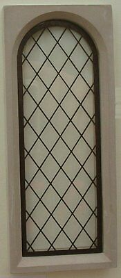 Arched 'Stone' Mullion Window - Complete Glass & Leadlight